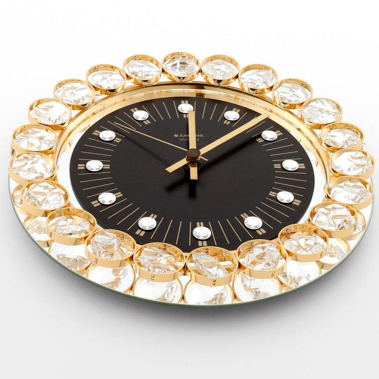 Wall Clock By Junghans Germany Gold Crystal Glass Mirror