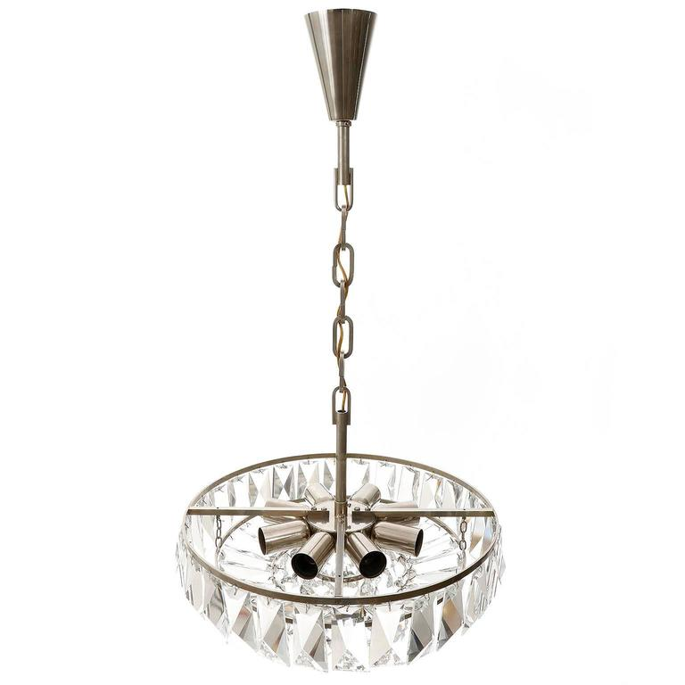 Mid-20th Century Bakalowits Chandelier Pendant Light no. 3669, Crystal Glass Nickel, 1960 For Sale