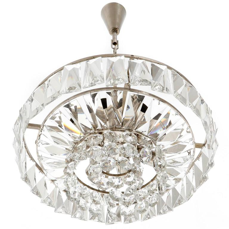 Bakalowits Chandelier Pendant Light no. 3669, Crystal Glass Nickel, 1960 In Excellent Condition For Sale In Vienna, AT