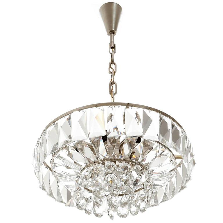 Austrian Bakalowits Chandelier Pendant Light no. 3669, Crystal Glass Nickel, 1960 For Sale