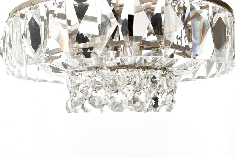 Bakalowits Chandelier Pendant Light no. 3669, Crystal Glass Nickel, 1960 For Sale 1
