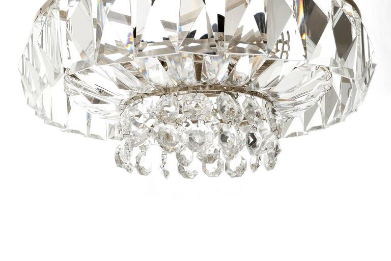Brass Bakalowits Chandelier Pendant Light no. 3669, Crystal Glass Nickel, 1960 For Sale
