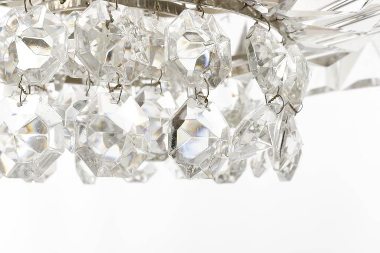 Bakalowits Chandelier Pendant Light no. 3669, Crystal Glass Nickel, 1960 For Sale 2