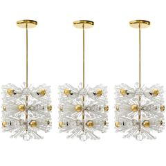 Three Emil Stejnar Pendant Lights Chandeliers, Brass Cut Glass, Austria, 1950s