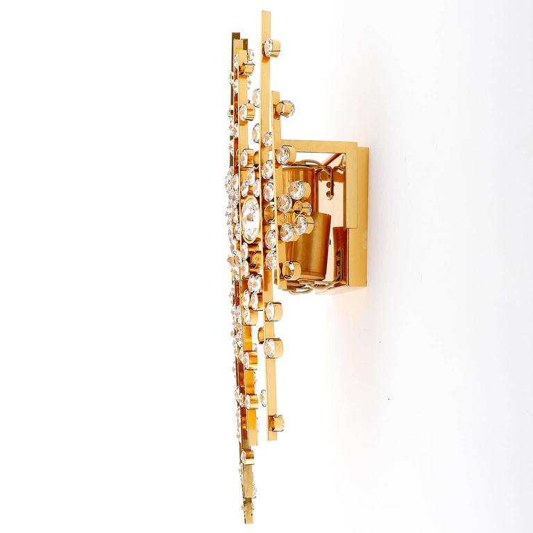 Large Crystal Wall Sconces : Large Palwa Sconces Wall Lights, Gilt Brass Crystal Glass, 1970 For Sale at 1stdibs