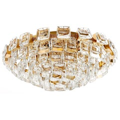 Palwa Flush Mount Light, Gilt Brass Crystal Glass, 1970