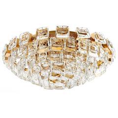Palwa Flush Mount Light, Gilt Brass Crystal Glass, 1970