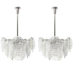 Two Kalmar Blatt Pendant Lights Chandeliers, Textured Glass Nickel, 1970s