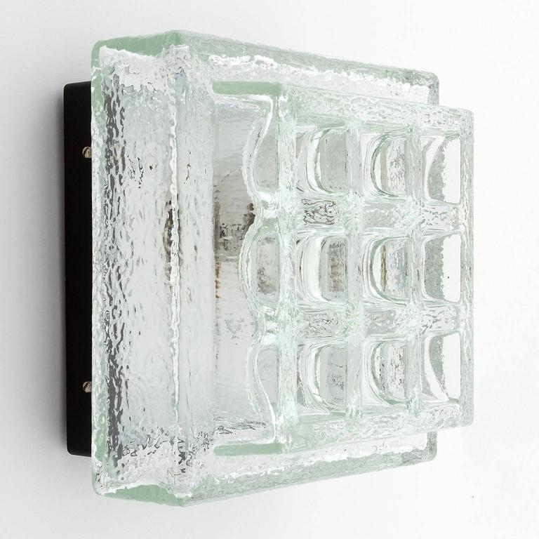 One of Five Square Limburg Textured Glass Flush Mount Lights or Sconces, 1970 In Excellent Condition For Sale In Vienna, AT