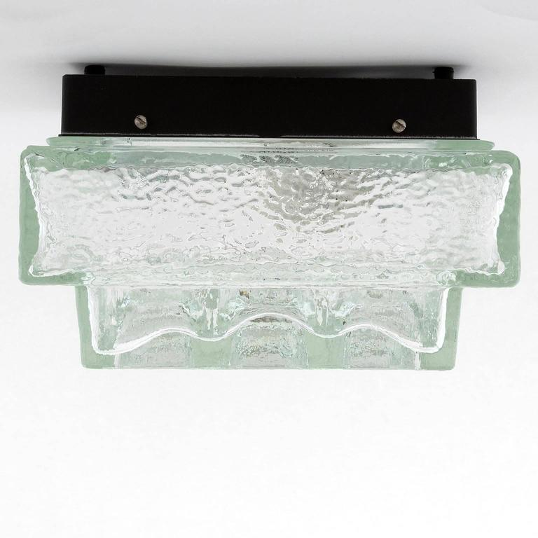 Enameled One of Five Square Limburg Textured Glass Flush Mount Lights or Sconces, 1970 For Sale