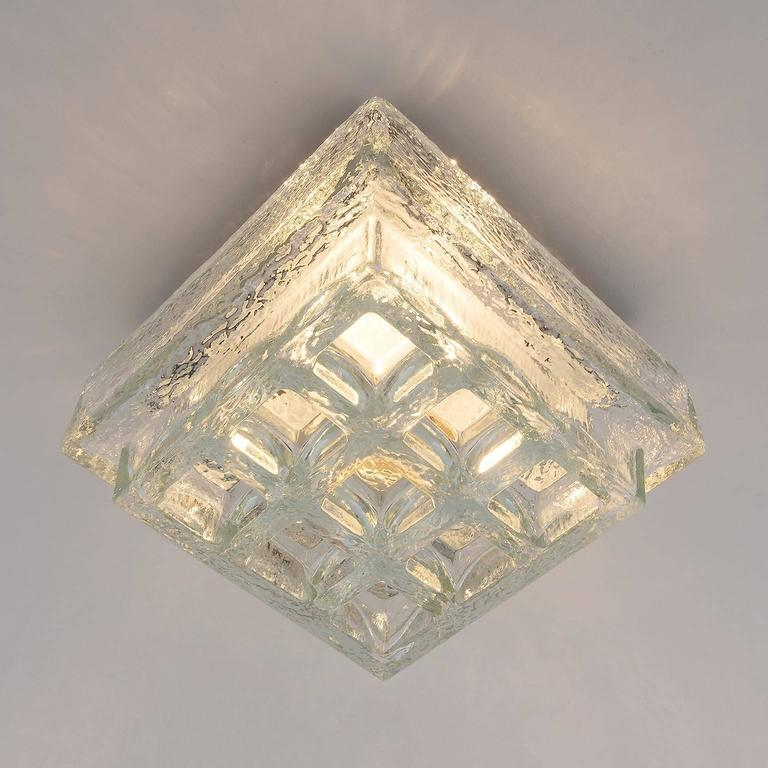 Late 20th Century One of Five Square Limburg Textured Glass Flush Mount Lights or Sconces, 1970 For Sale