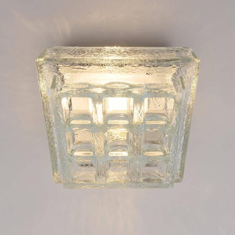 One of Five Square Limburg Textured Glass Flush Mount Lights or Sconces, 1970 For Sale 1