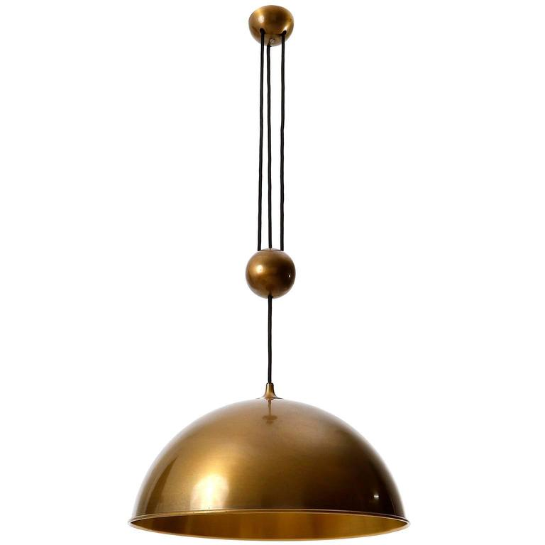 Florian Schulz Dome Counter Balance Pendant Light, Patinated Brass, 1970