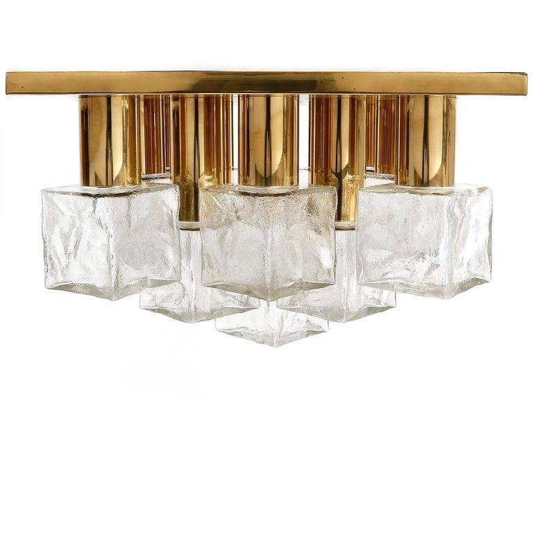 Austrian Square Kalmar Flush Mount Light or Sconce, Brass Cast Ice Glass, 1970, 1 of 5 For Sale