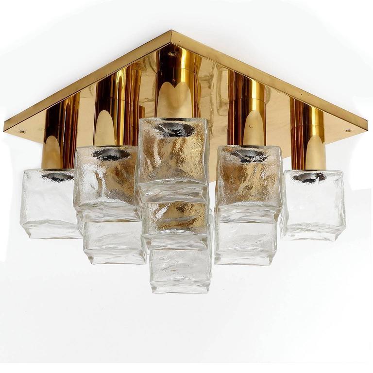 Polished Square Kalmar Flush Mount Light or Sconce, Brass Cast Ice Glass, 1970, 1 of 5 For Sale