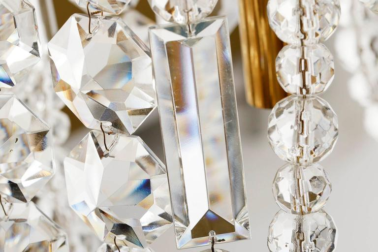 Bakalowits Kronleuchter Pendelleuchte, Vergoldetes Messing Kristallglas, 1960er Jahre 10