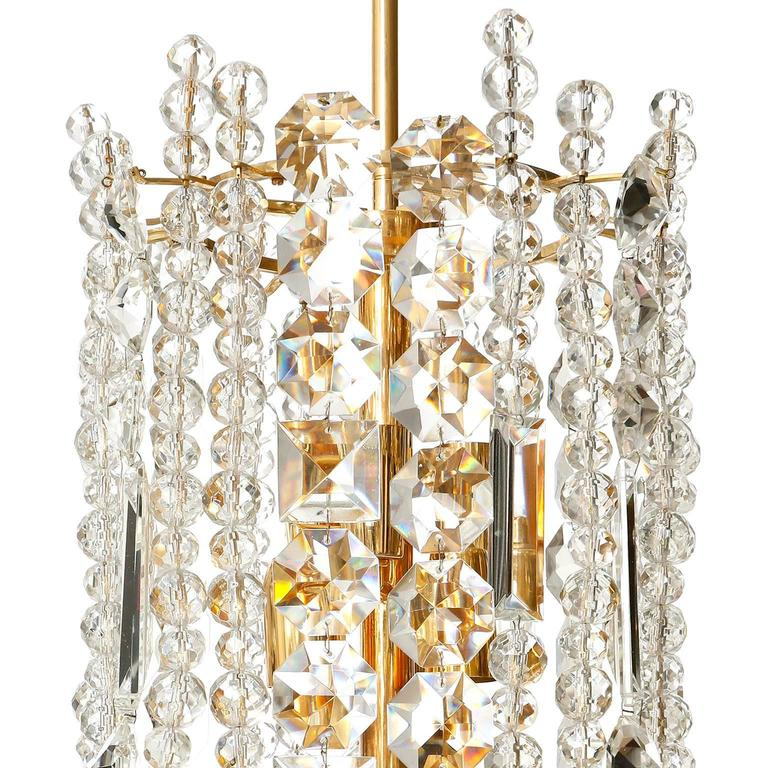 Mid-20th Century Bakalowits Chandelier Pendant Light, Gilt Brass Crystal Glass, 1960s For Sale