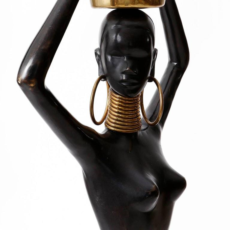 Human Size African Woman Sculpture Figurine, Polished and Blackened Brass, 1950 For Sale 1