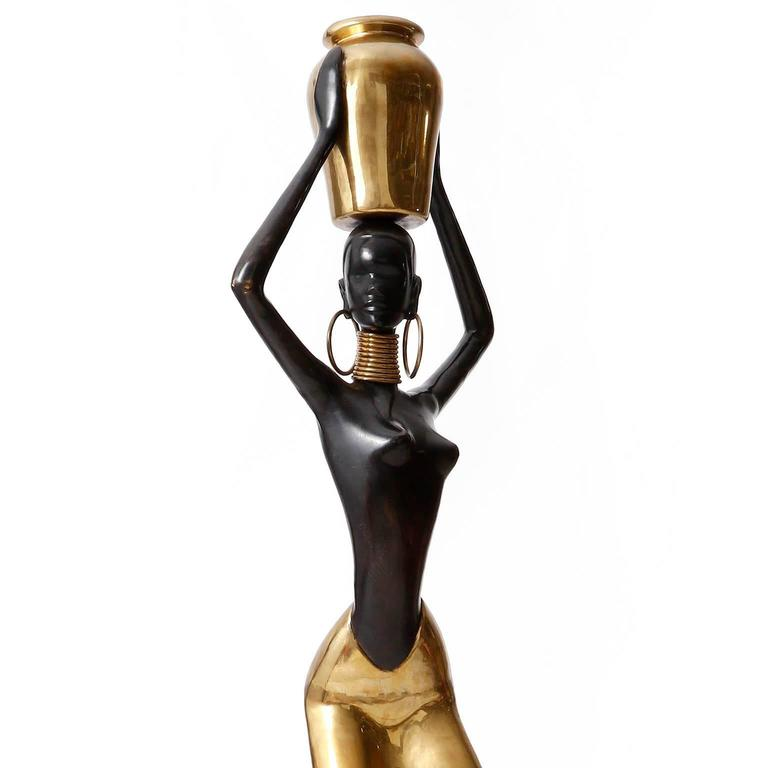 European Human Size African Woman Sculpture Figurine, Polished and Blackened Brass, 1950 For Sale