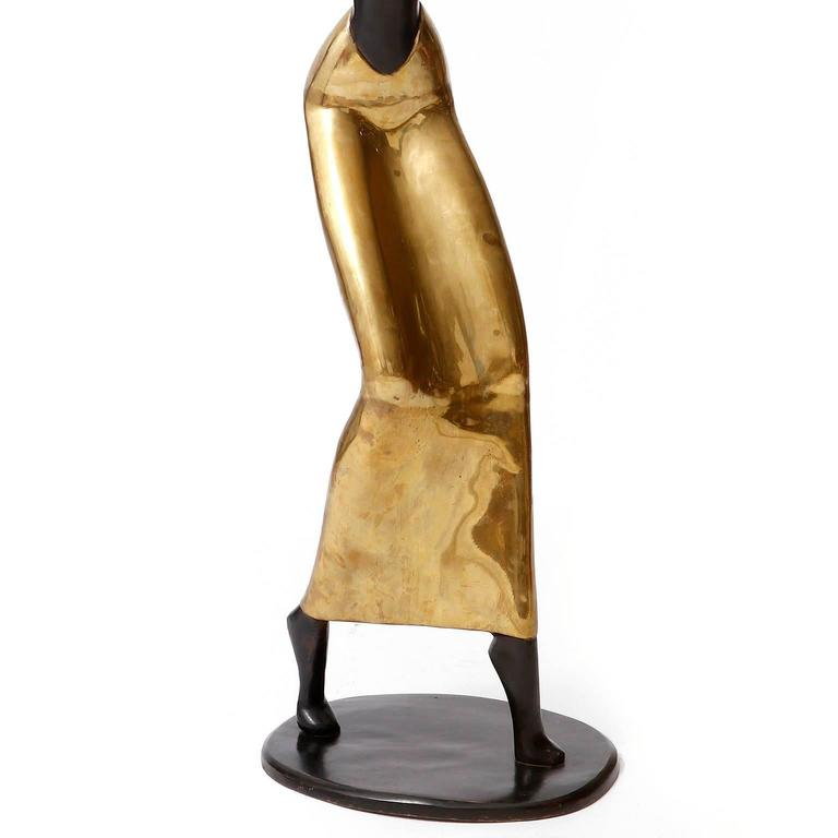 Human Size African Woman Sculpture Figurine, Polished and Blackened Brass, 1950 For Sale 2