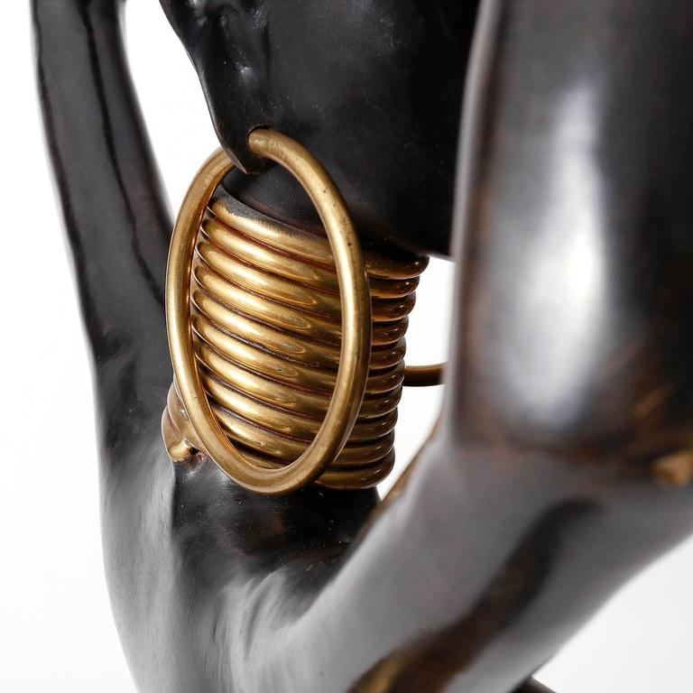 Human Size African Woman Sculpture Figurine, Polished and Blackened Brass, 1950 For Sale 3