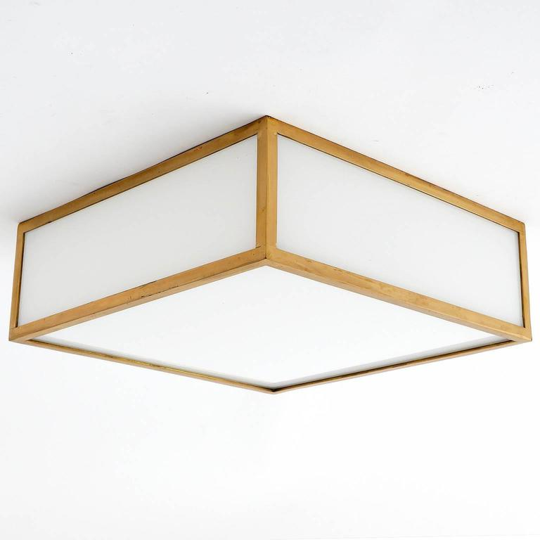Square Box Flush Mount or Wall Light, Brass Opal Glass, Austria ...