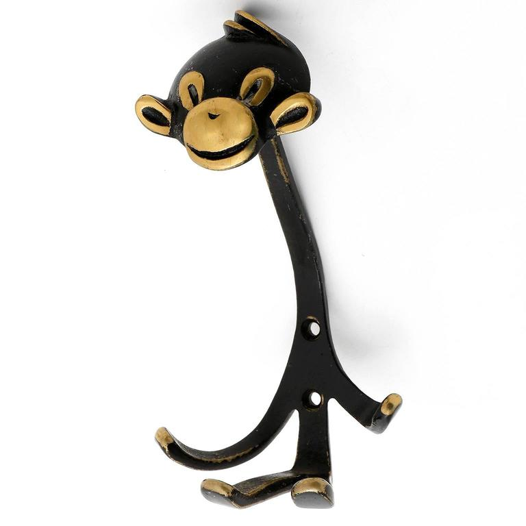 monkey coat wall hook hanger blackened brass by walter bosse austria 1950 for sale at 1stdibs. Black Bedroom Furniture Sets. Home Design Ideas