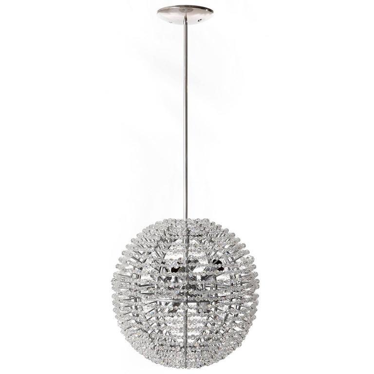 European Bakalowits Chandelier 'Supernova', Nickel Crystal Glass, 1960s For Sale
