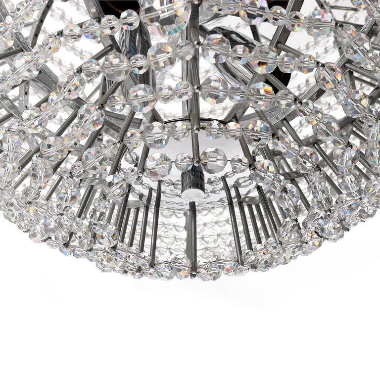 Brass Bakalowits Chandelier 'Supernova', Nickel Crystal Glass, 1960s For Sale