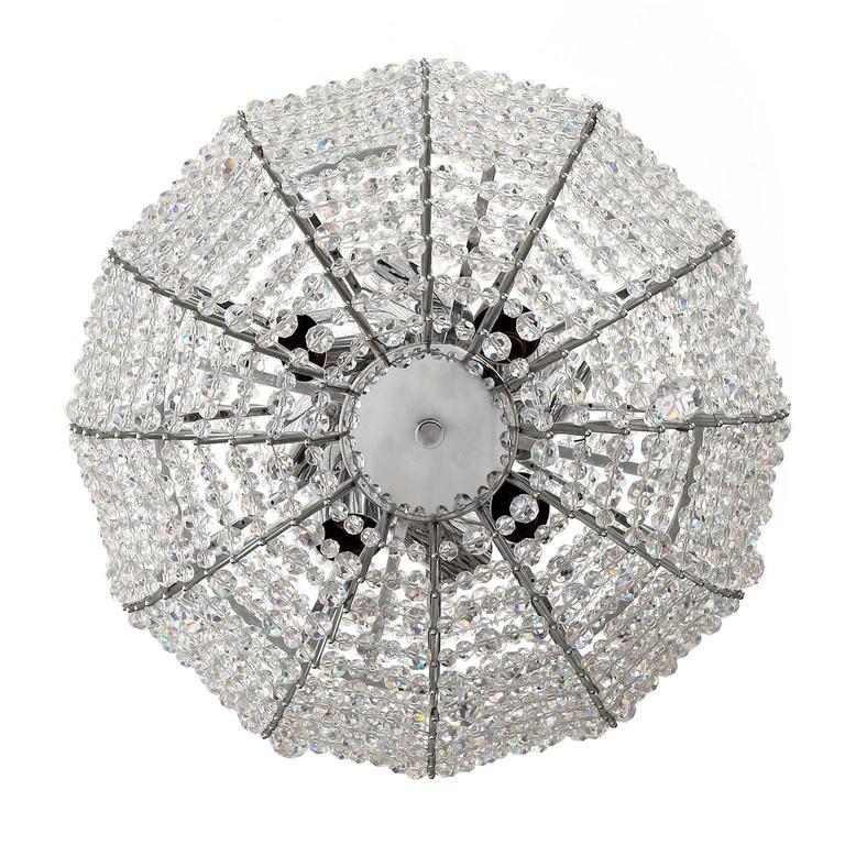 Mid-Century Modern Bakalowits Chandelier 'Supernova', Nickel Crystal Glass, 1960s For Sale