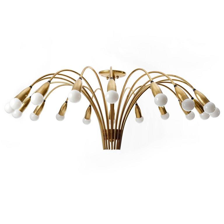 European Huge Brass Flush Mount Light Fixture, Spider Sputnik Chandelier, 1960 For Sale