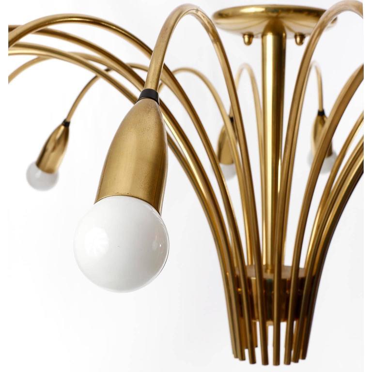 Huge Brass Flush Mount Light Fixture, Spider Sputnik Chandelier, 1960 For Sale 2