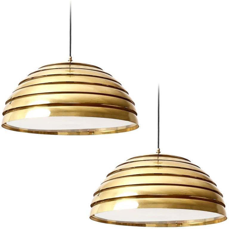 Two Large Dome Pendant Lights, Brass Plexiglas's Diffuser, Florian Schulz, 1970s For Sale