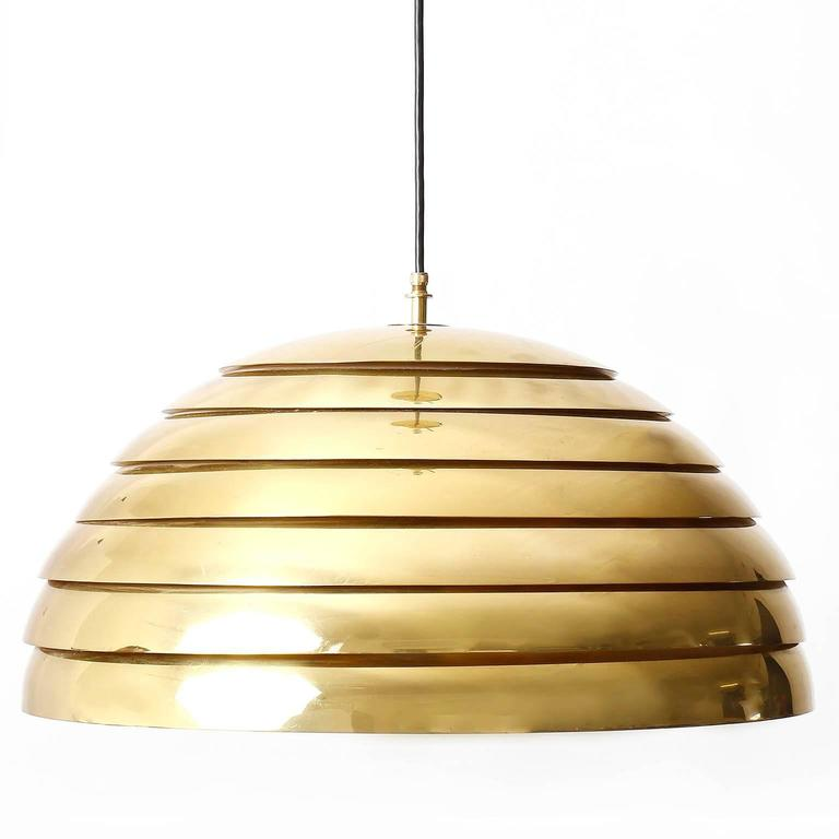 Mid-Century Modern Two Large Dome Pendant Lights, Brass Plexiglas's Diffuser, Florian Schulz, 1970s For Sale