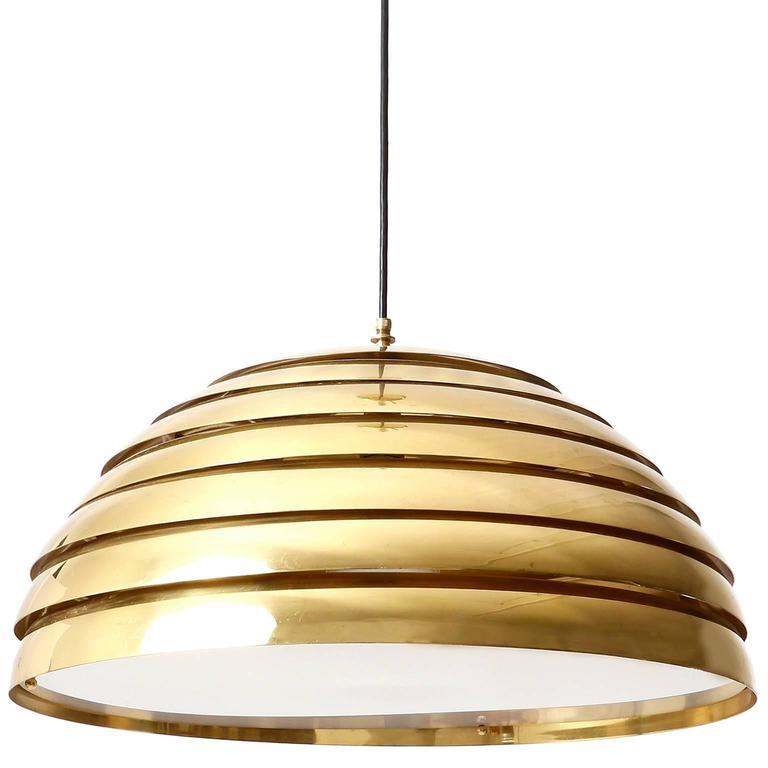 German Two Large Dome Pendant Lights, Brass Plexiglas's Diffuser, Florian Schulz, 1970s For Sale