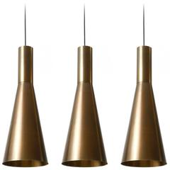 Set of 11 Large Patinated Brass Pendant Lights, 1960s