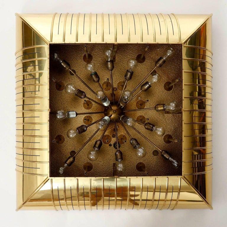 Austrian Monumental Lobmeyr Flush Mount Light, Brass Nickel Crystal Glass, 1975 For Sale