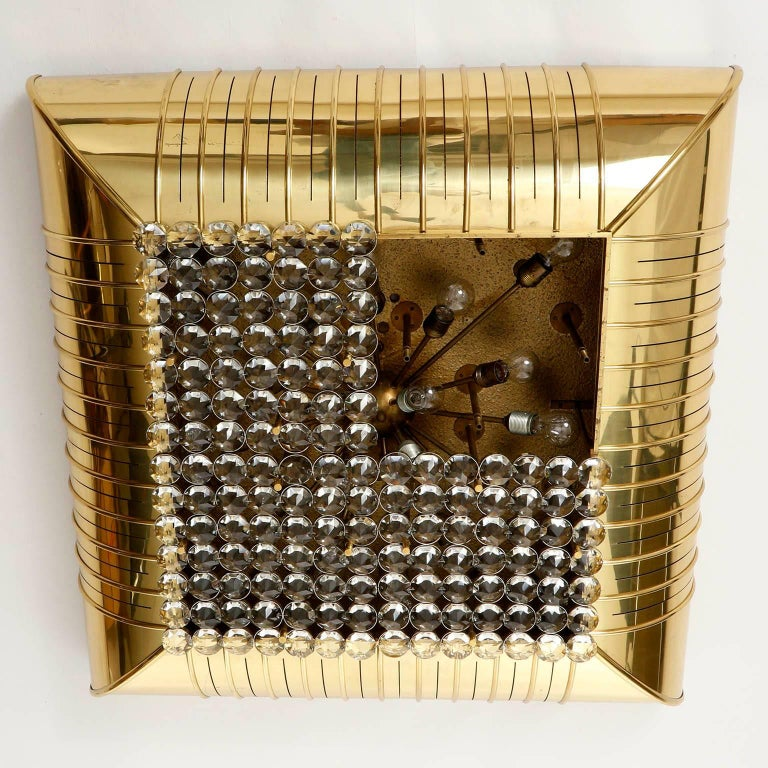 Mid-Century Modern Monumental Lobmeyr Flush Mount Light, Brass Nickel Crystal Glass, 1975 For Sale