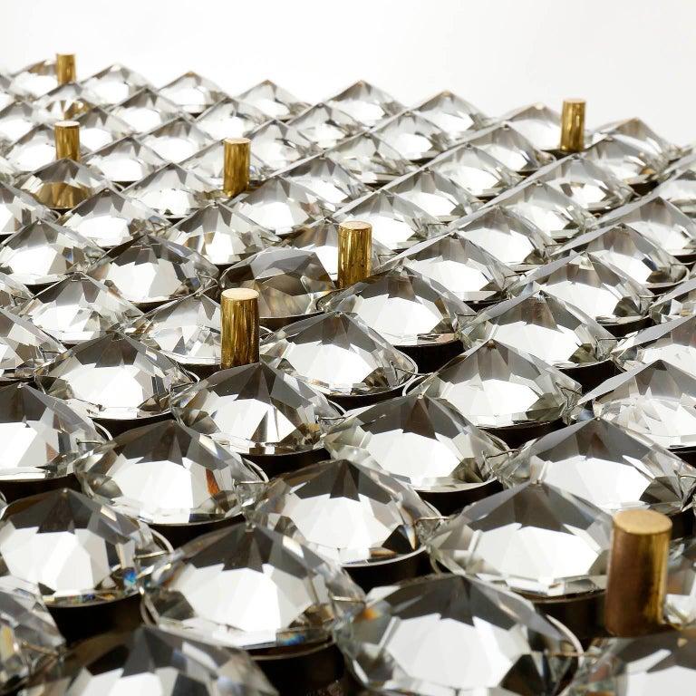 Late 20th Century Monumental Lobmeyr Flush Mount Light, Brass Nickel Crystal Glass, 1975 For Sale