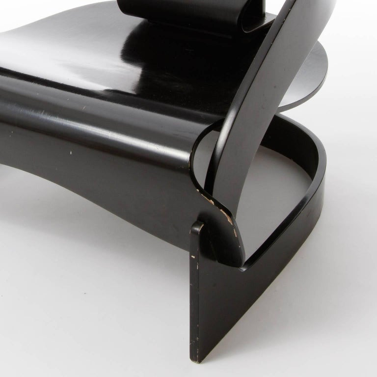 Pair of Joe Colombo Chairs No. 4801, Black Plywood, Kartell, Italy, circa 1963 For Sale 1