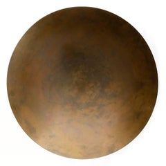 Large Florian Schulz Flush Mount Light, Patinated Brass Bowl, 1970
