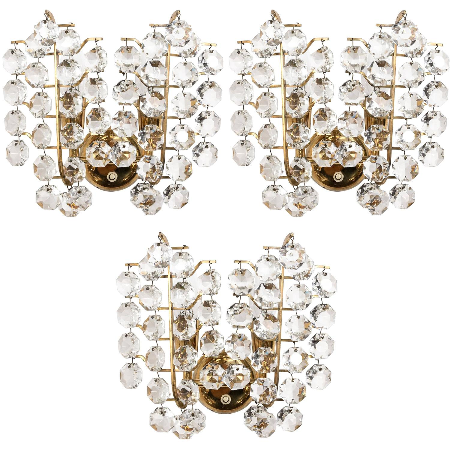Bakalowits Sconces Wall Lights, Brass Crystal Glass, 1960s