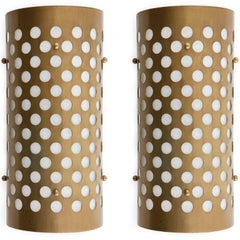 Pair of Sconces Wall Lights, Perforated Patinated Brass Plexiglass, 1970