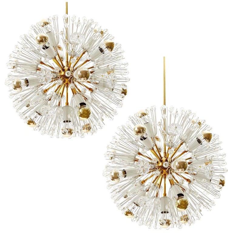 Pair of Emil Stejnar Sputnik Chandeliers, Brass Crystal Glass, 1950s