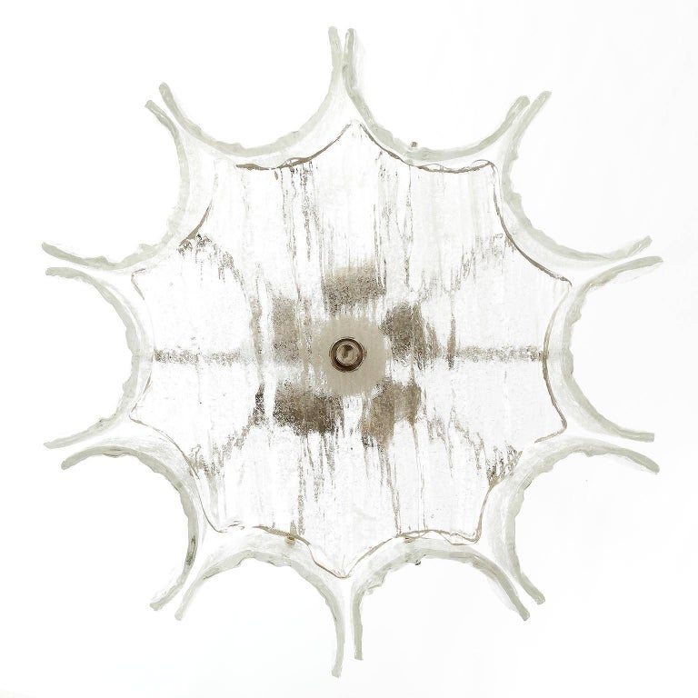 Mid-Century Modern Kalmar Chandelier, Glass Nickel, 1970 For Sale