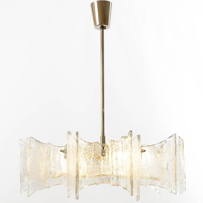 Plated Kalmar Chandelier, Glass Nickel, 1970 For Sale