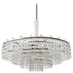 Palwa Chandelier, Nickel Cut Crystal Glass, Germany, 1960s