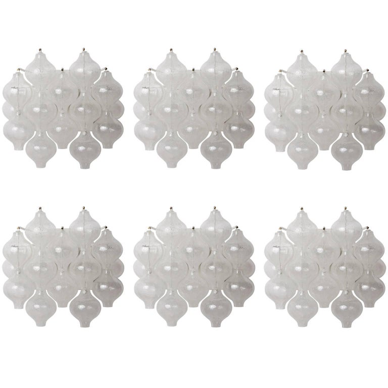 Set of Six Kalmar 'Tulipan' Wall Lights Sconces, Glass Brass, 1970s