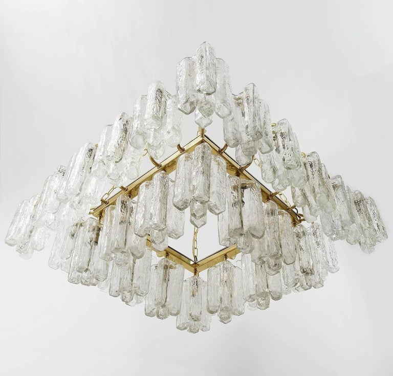 Mid-Century Modern One of Four Huge Kalmar 'Granada' Chandeliers Flush Mount Light Brass Glass 1970 For Sale