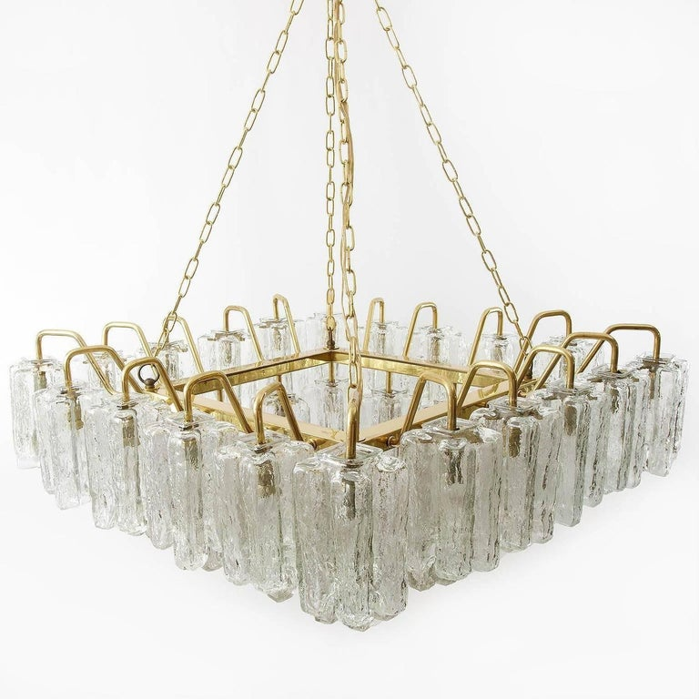 Austrian One of Four Huge Kalmar 'Granada' Chandeliers Flush Mount Light Brass Glass 1970 For Sale